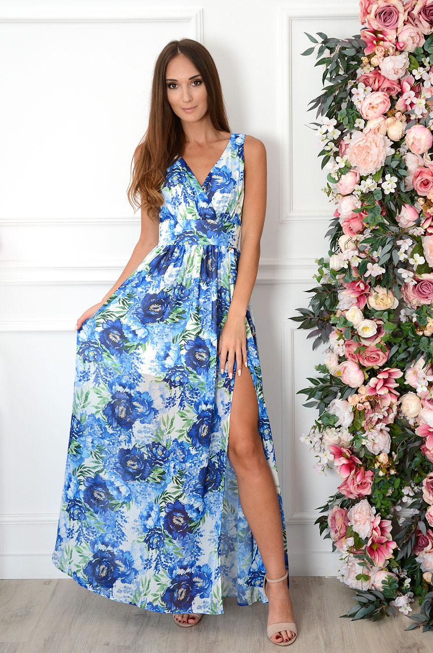 Sukienka maxi szyfonowa w chabry biała Izolda Rozmiar: S