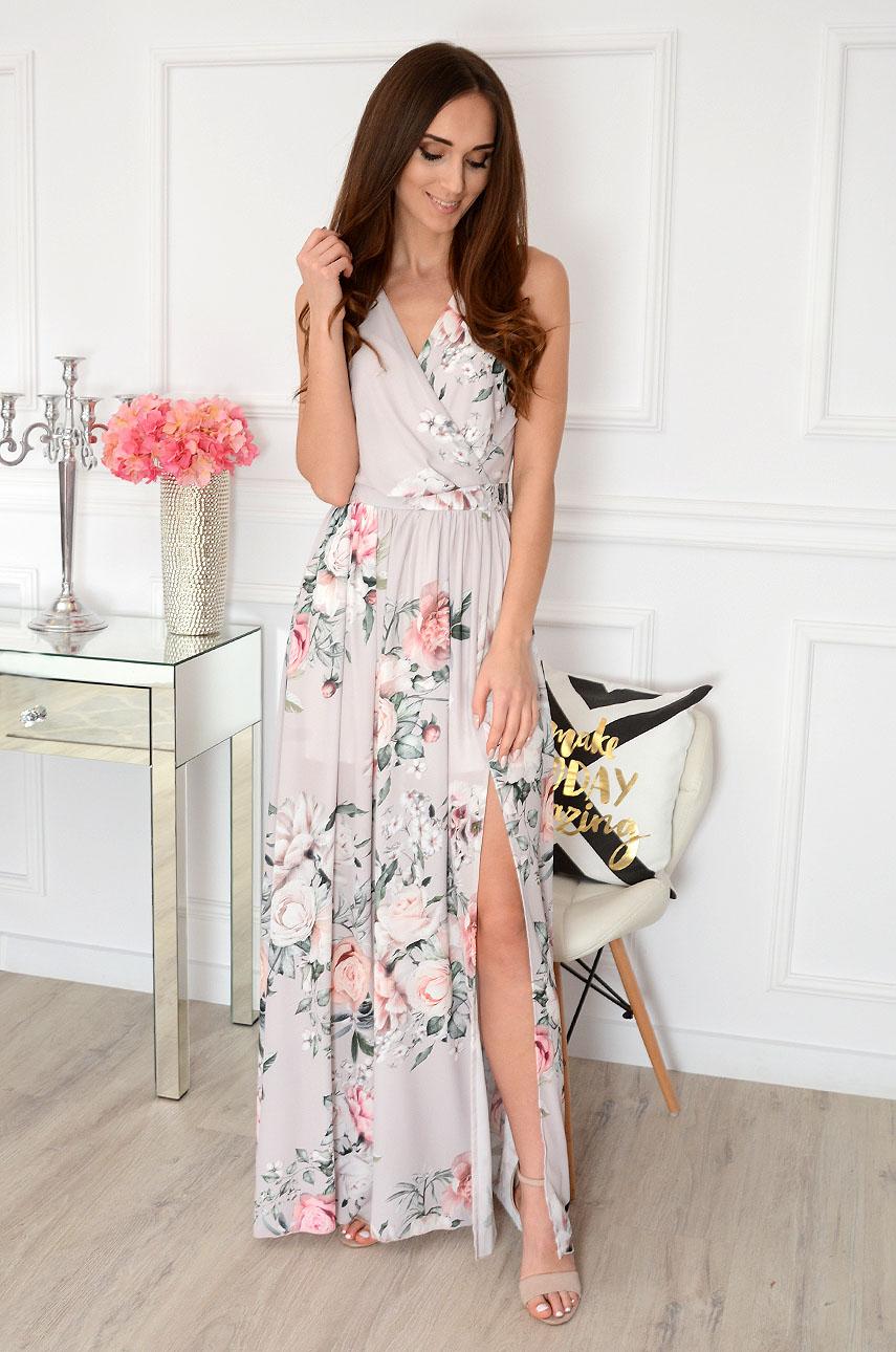 Sukienka maxi szyfonowa w kwiaty beżowa Lukrecja Rozmiar: XS
