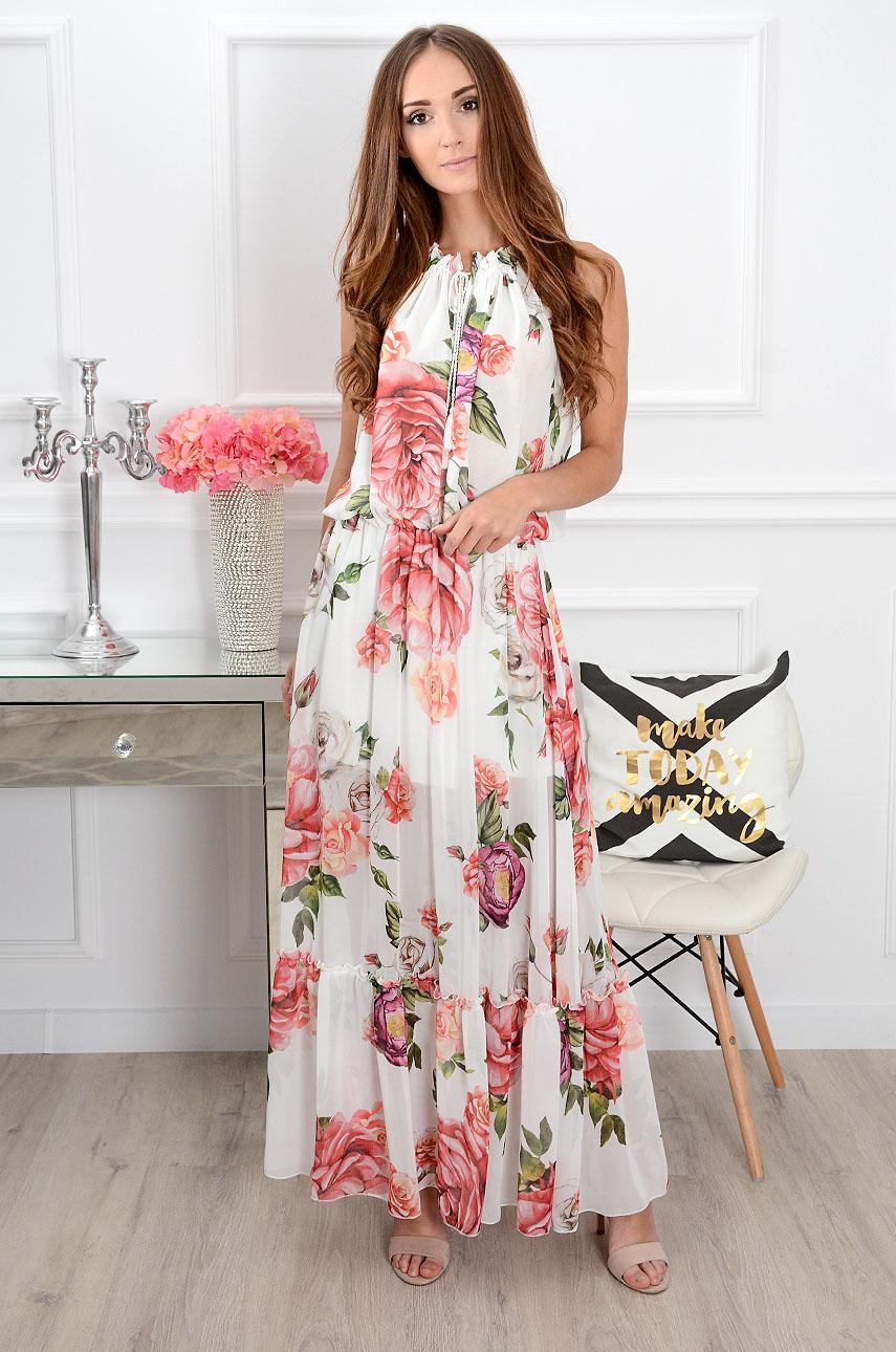 Sukienka maxi szyfonowa w róże i piwonie Lotus Rozmiar: UNI