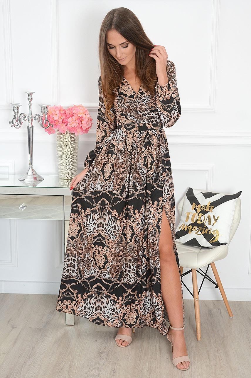 Sukienka maxi w łańcuchy i wzory długi rękaw czarna Lukrecja Rozmiar: S
