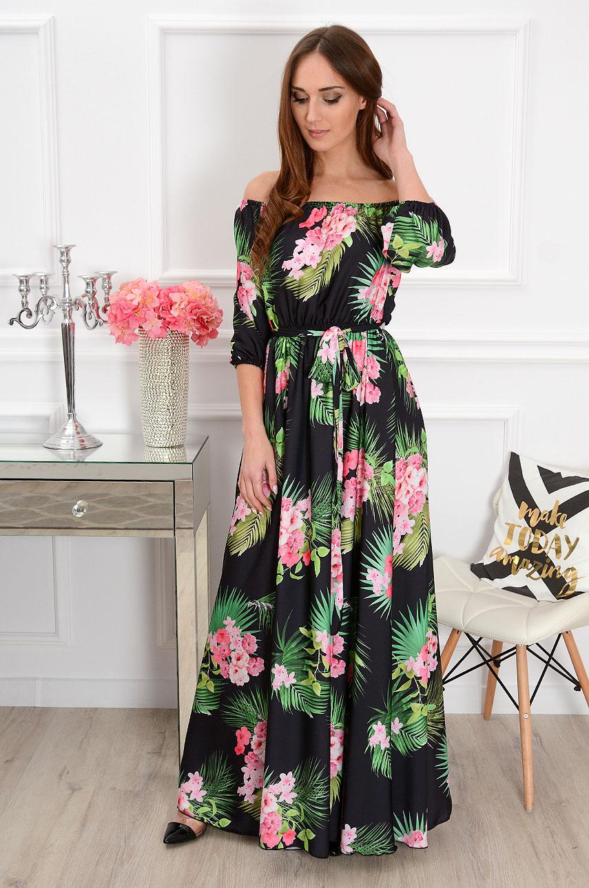 Sukienka maxi w bukiety kwiatów California czarna Rozmiar: S