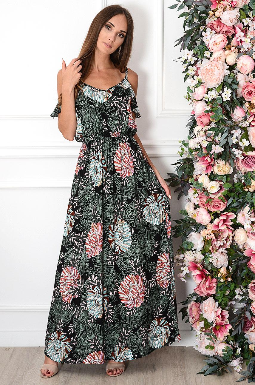 Sukienka maxi w kolorowe kwiaty czarna Madika Rozmiar: L/XL