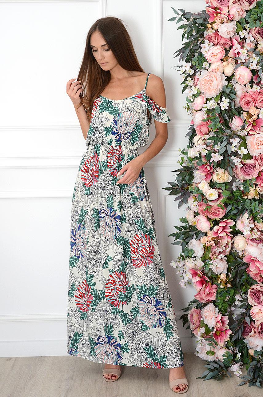 Sukienka maxi w kolorowe kwiaty kremowa Madika Rozmiar: S/M