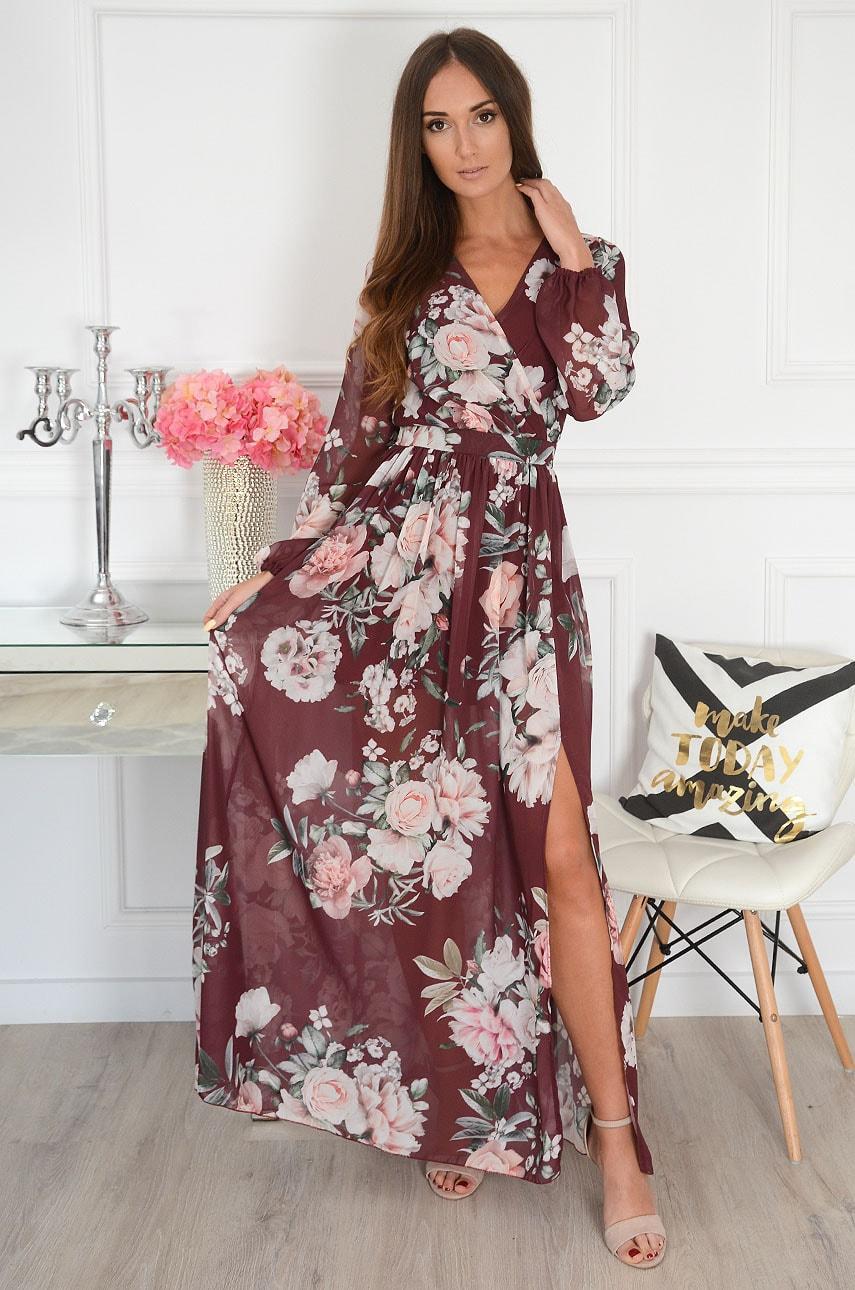 Sukienka maxi w kwiaty długi rękaw burgund Lukrecja Rozmiar: XS