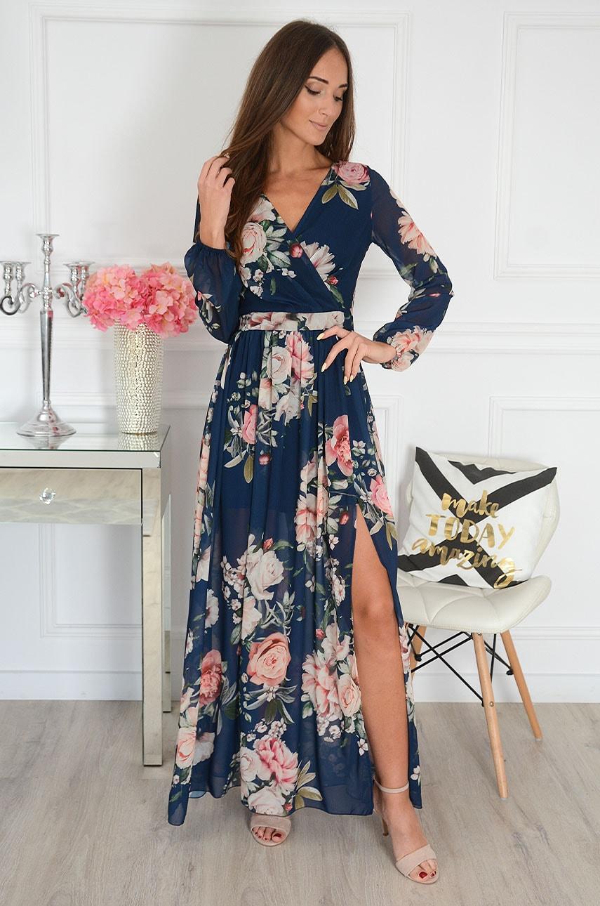 Sukienka maxi w kwiaty długi rękaw granat Lukrecja Rozmiar: S