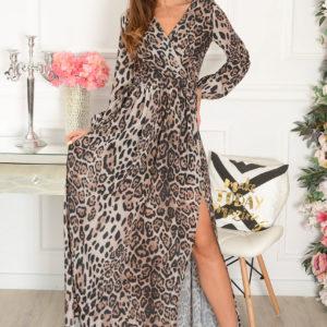 Sukienka maxi w panterkę długi rękaw beż Lukrecja Rozmiar: S