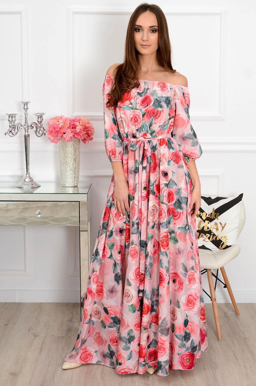 Sukienka maxi w róże California różowa Rozmiar: S