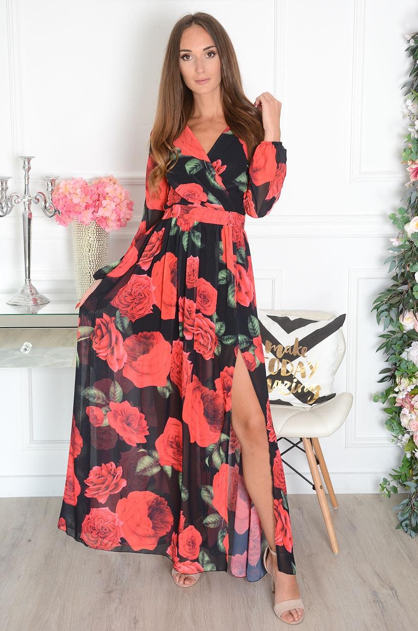 Sukienka maxi w róże długi rękaw czarna Lukrecja Rozmiar: S