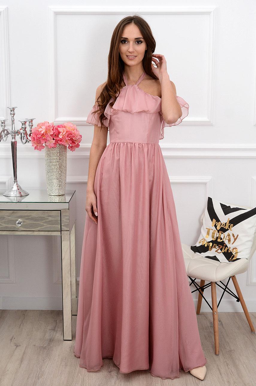 Sukienka maxi wiązana na szyi brudny róż Cannes Rozmiar: XS
