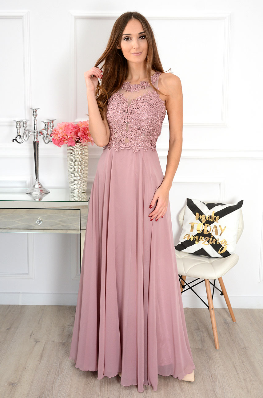 Sukienka maxi z gipiurą Cheryll brudny róż Rozmiar: L