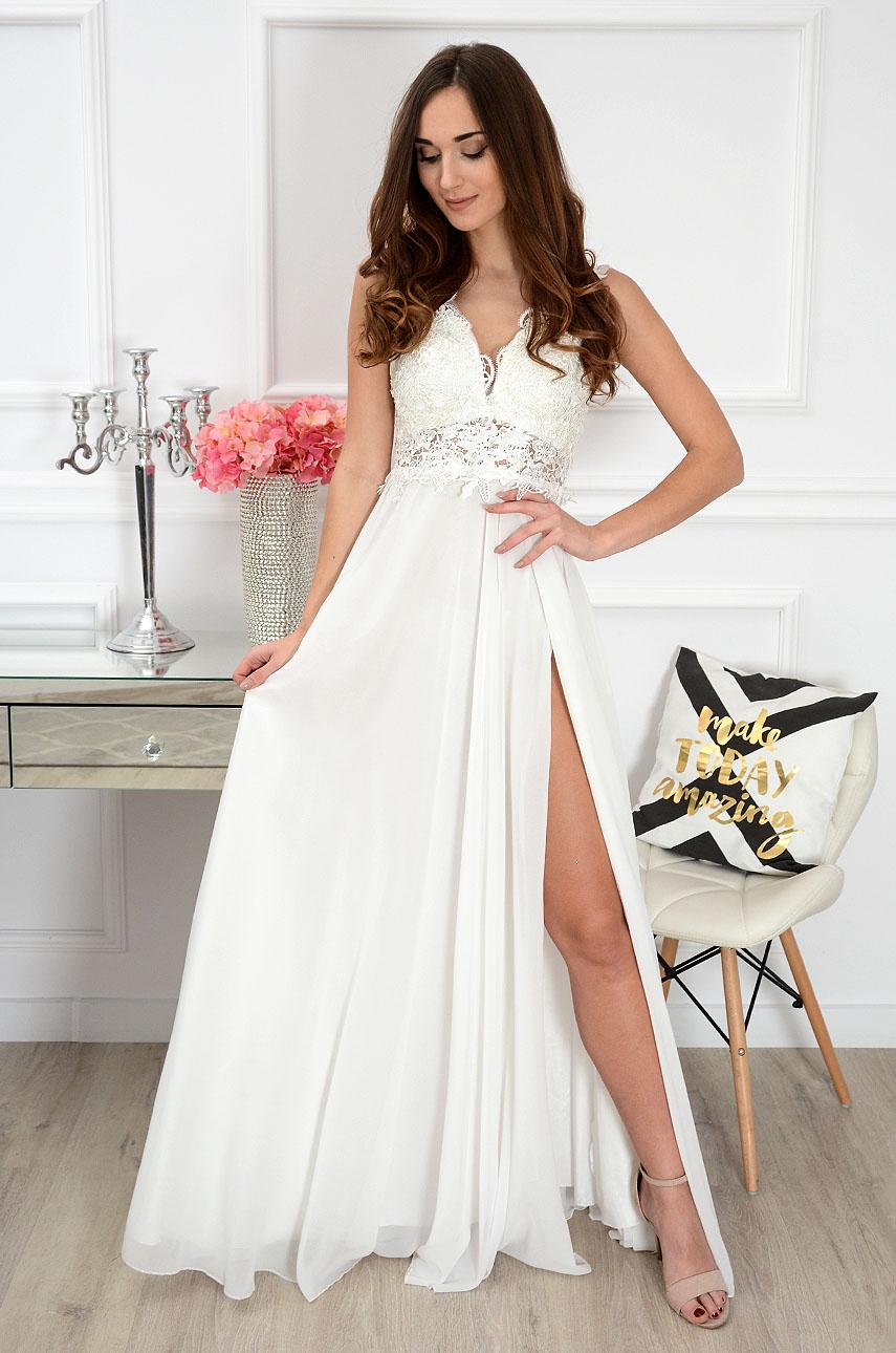Sukienka maxi z gipiurą biała Iberia Rozmiar: S