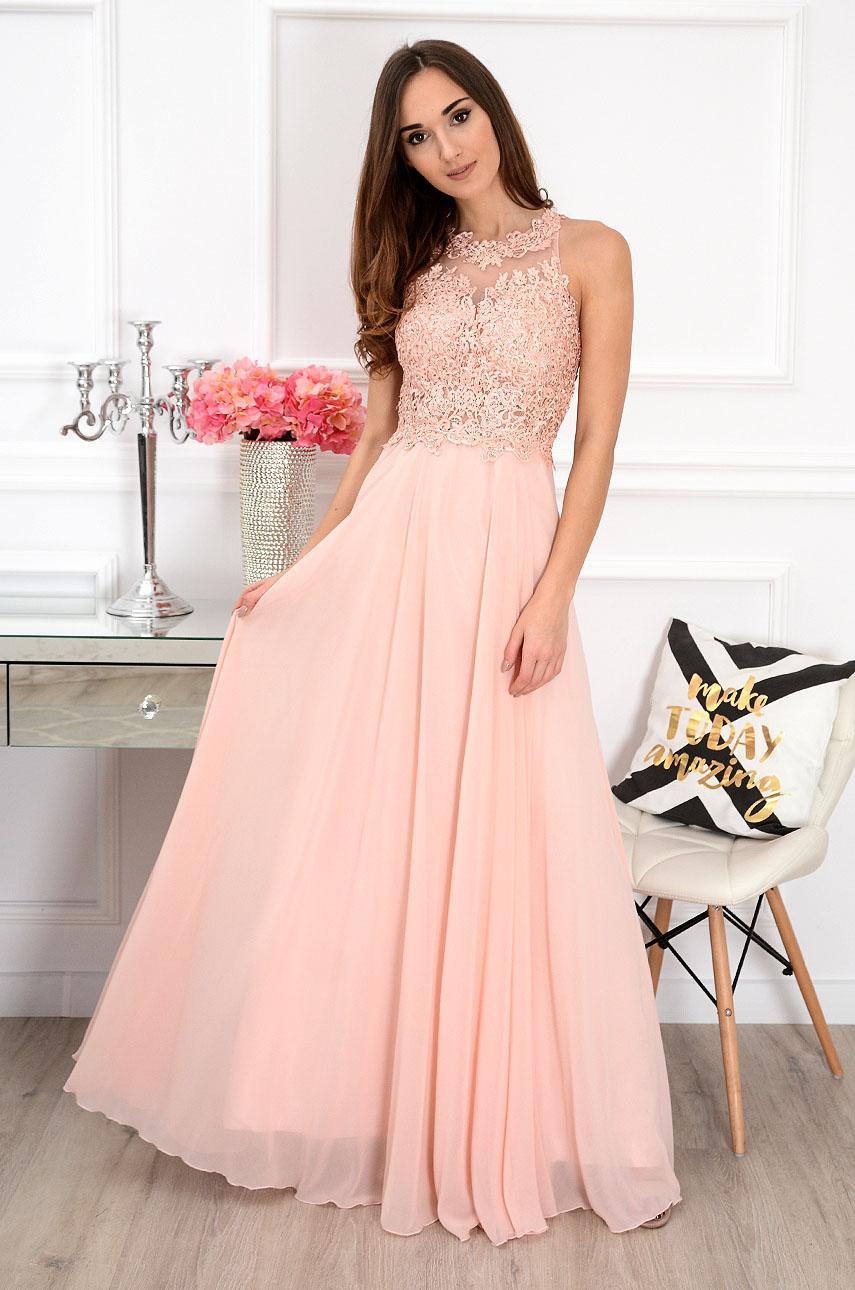 Sukienka maxi z gipiurą pudrowy róż Cheryll Rozmiar: M