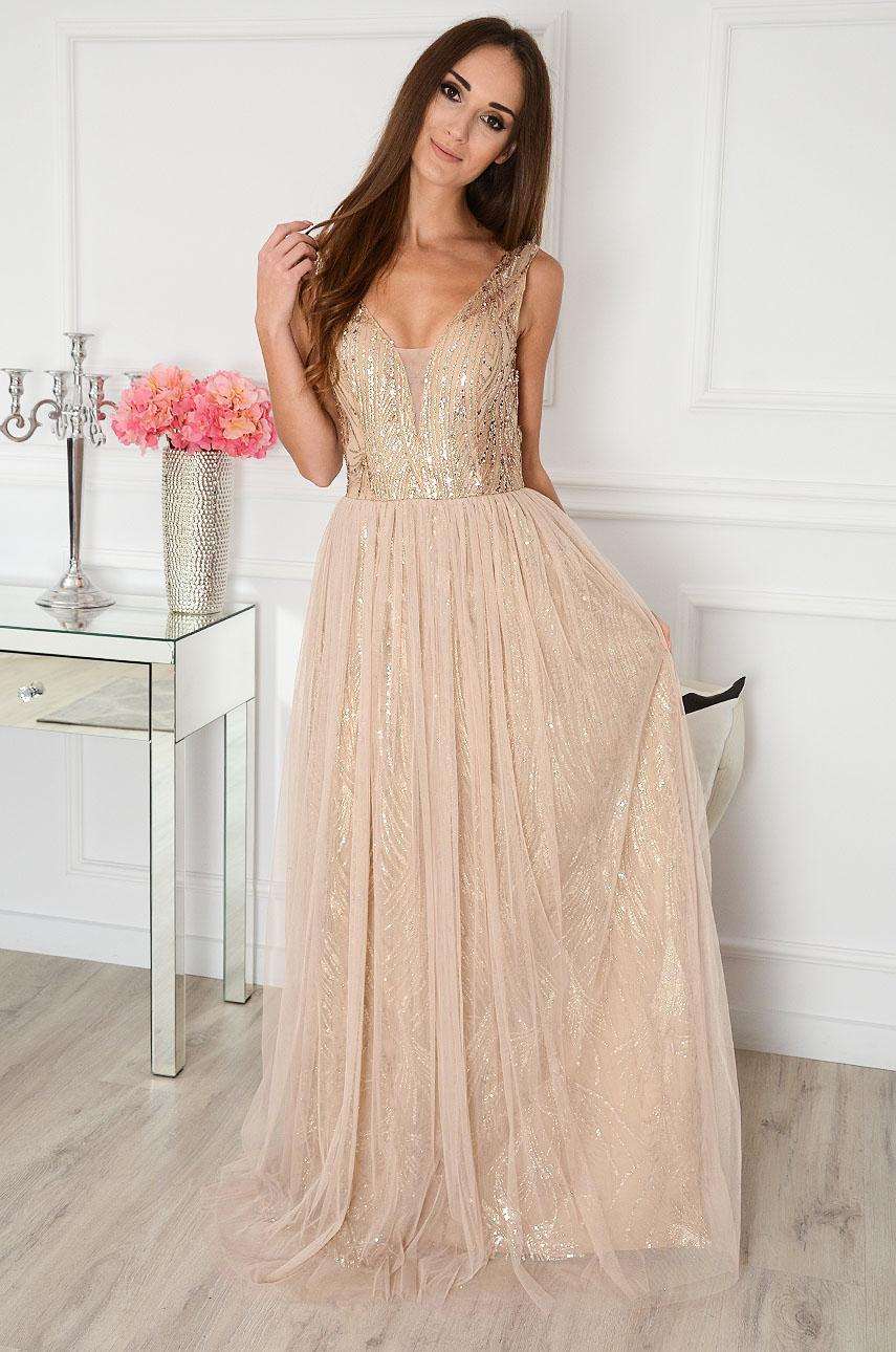 Sukienka maxi z tiulem beżowo-złota Jenner Rozmiar: M