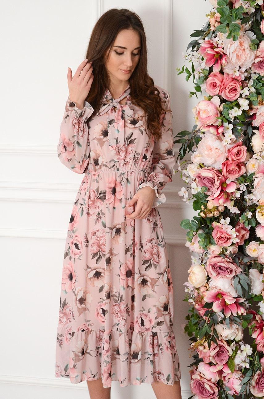 Sukienka midi szyfonowa z falbaną w pudrowa Cecylia Rozmiar: UNI