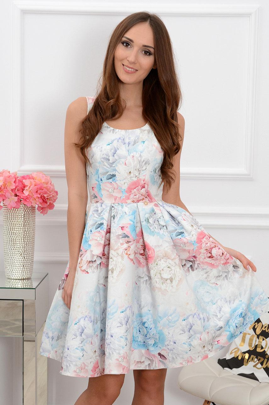 Sukienka midi w pastelowe kwiaty Lindsay Rozmiar: XS