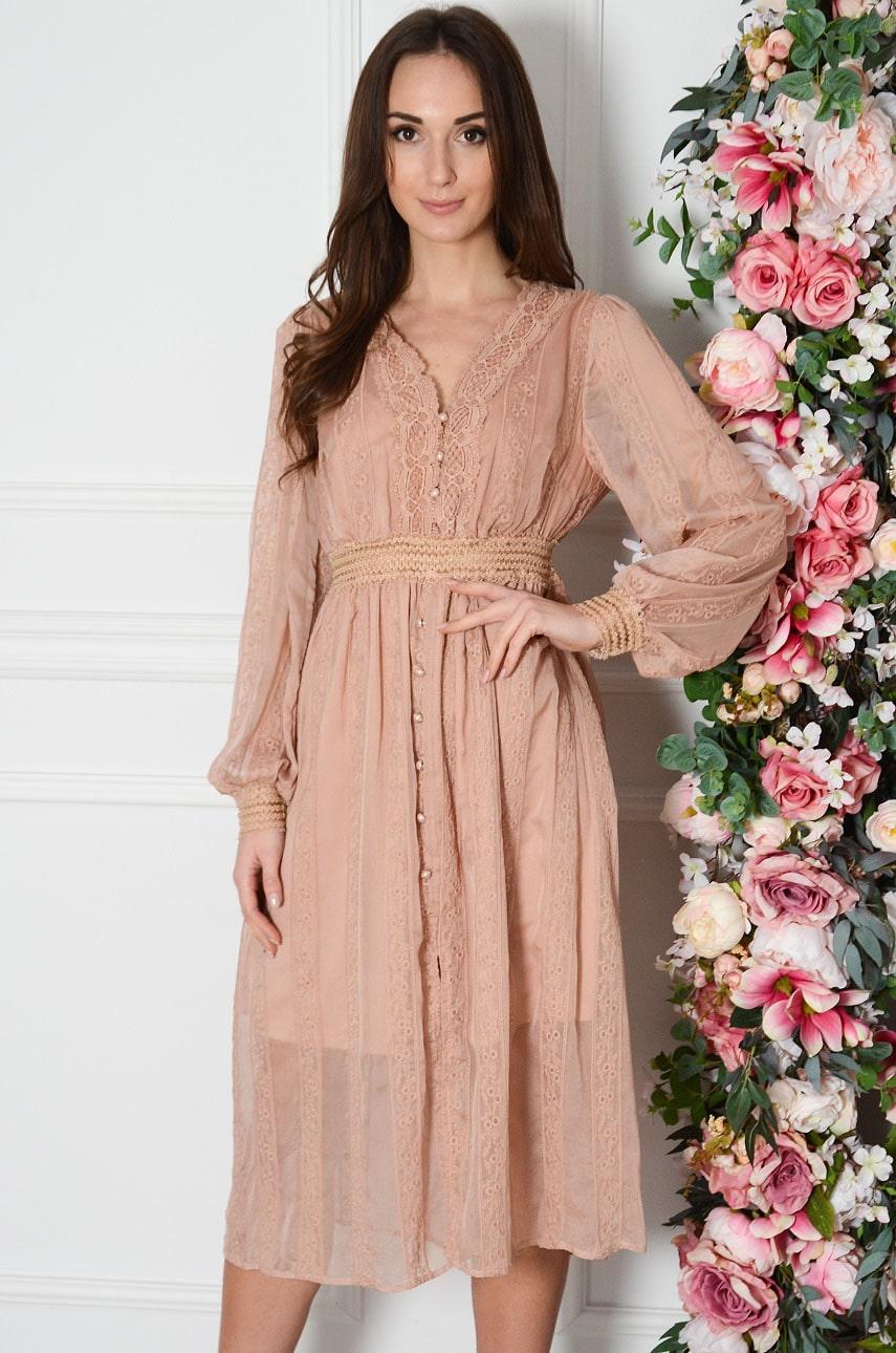 Sukienka midi z haftowanego tiulu brudny róż Fiore Rozmiar: S/M