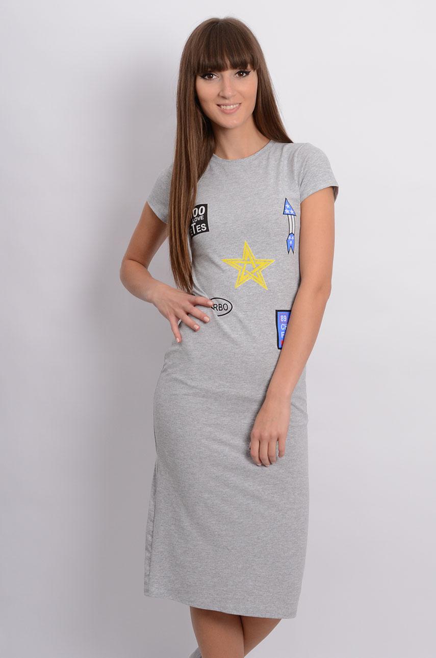 Sukienka midi z nadrukami naszywek szary melanż Rozmiar: UNI