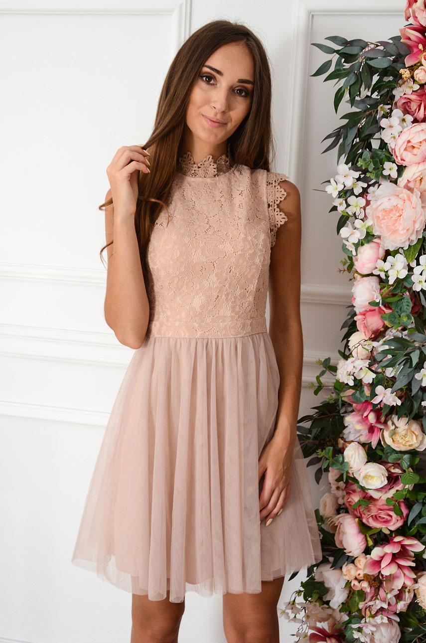 Sukienka mini z koronki i tiulu brudny róż Diori Rozmiar: S
