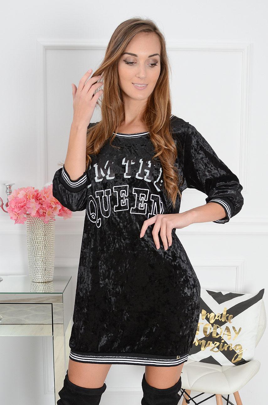 Sukienka oldschool welurowa Queen czarna Rozmiar: S/M