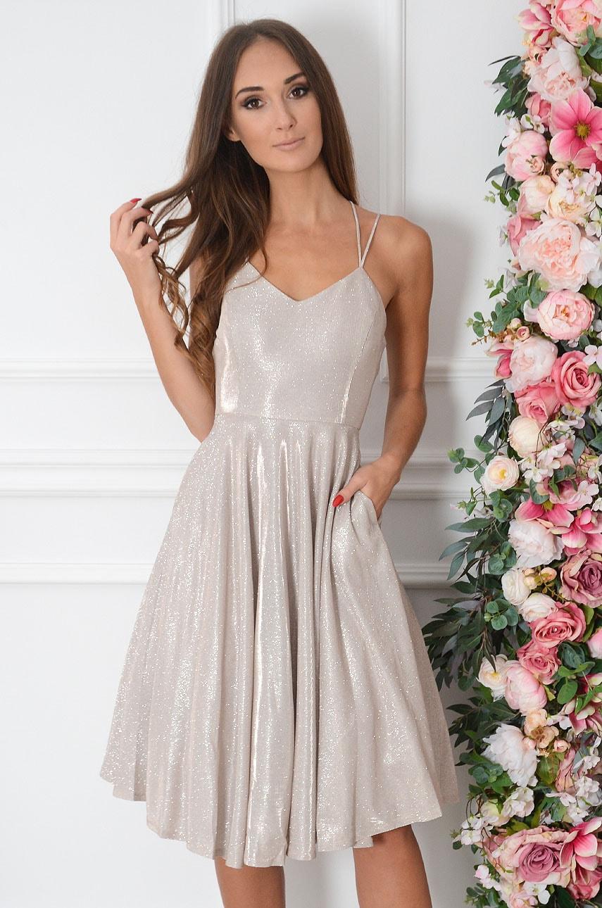 Sukienka opalizująca plecione ramiączka beż Shade Rozmiar: S
