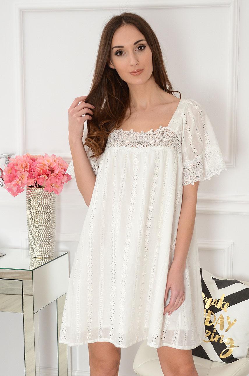 Sukienka oversize ażurowe hafty kremowa Bianka Rozmiar: UNI