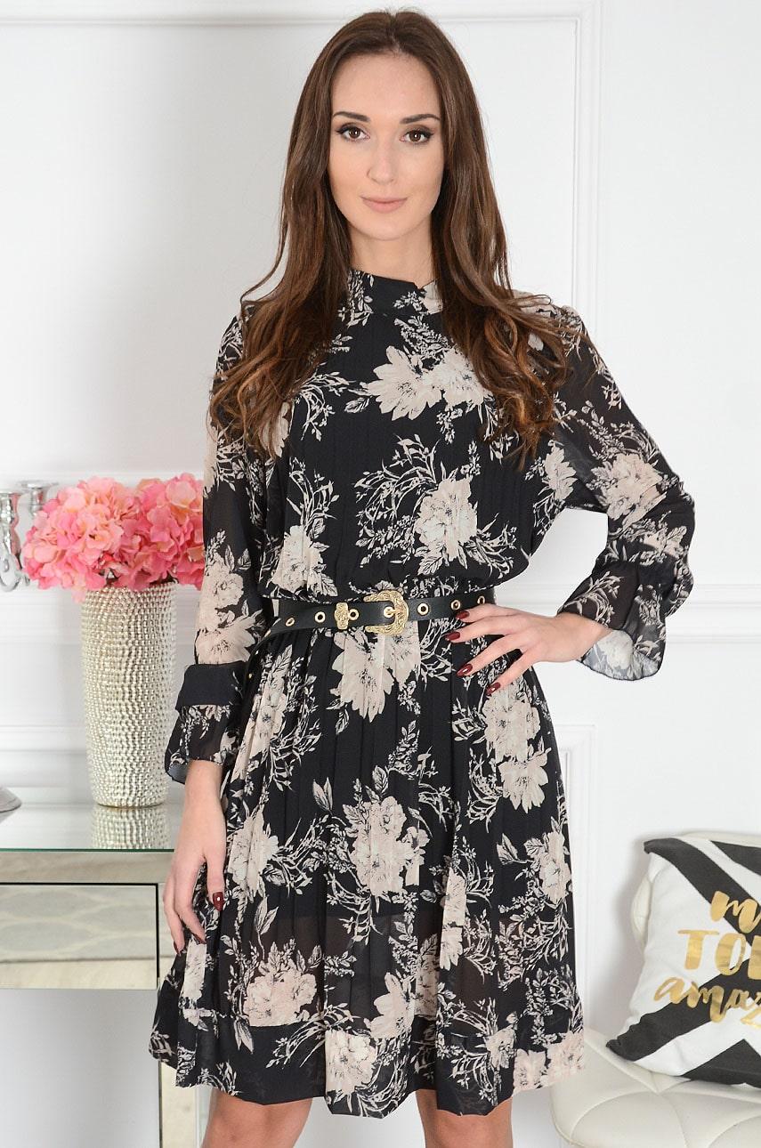 Sukienka oversize plisowana w beżowe kwiaty czarna Alys Rozmiar: UNI
