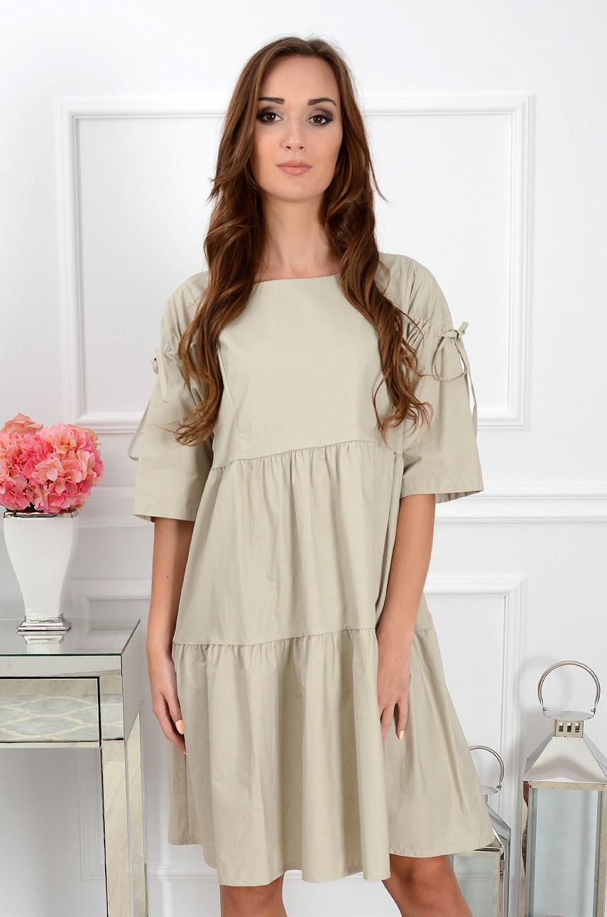 Sukienka oversize z falban beż Rozmiar: UNI