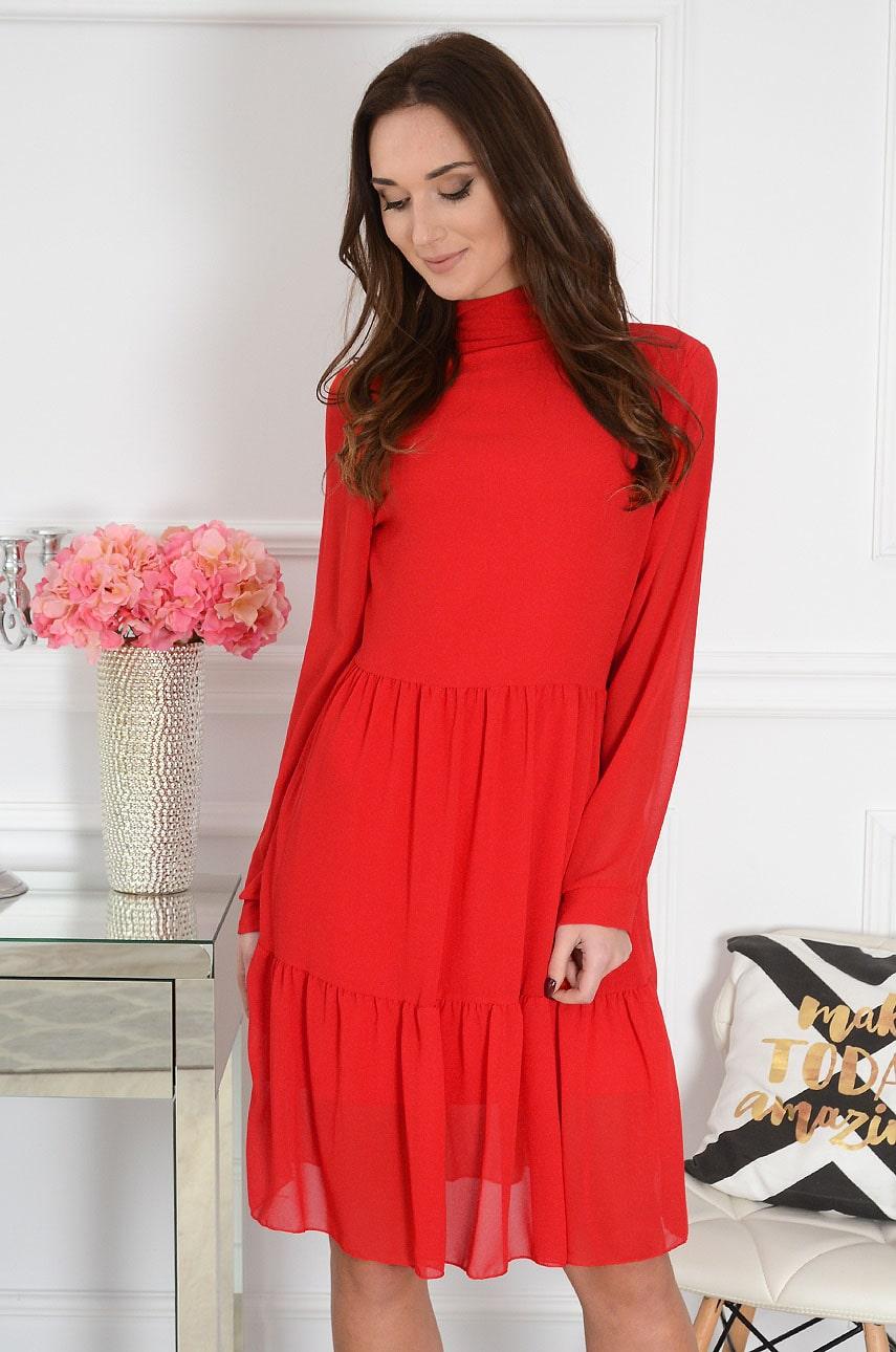 Sukienka oversize z falban z wiązaniem czerwona Elevia Rozmiar: UNI