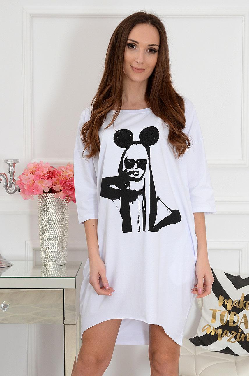 Sukienka oversize z nadrukiem biała Miki Girl Rozmiar: UNI