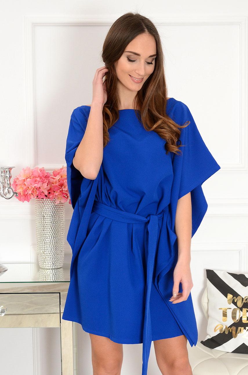 Sukienka oversize z paskiem kobalt Flavia Rozmiar: UNI