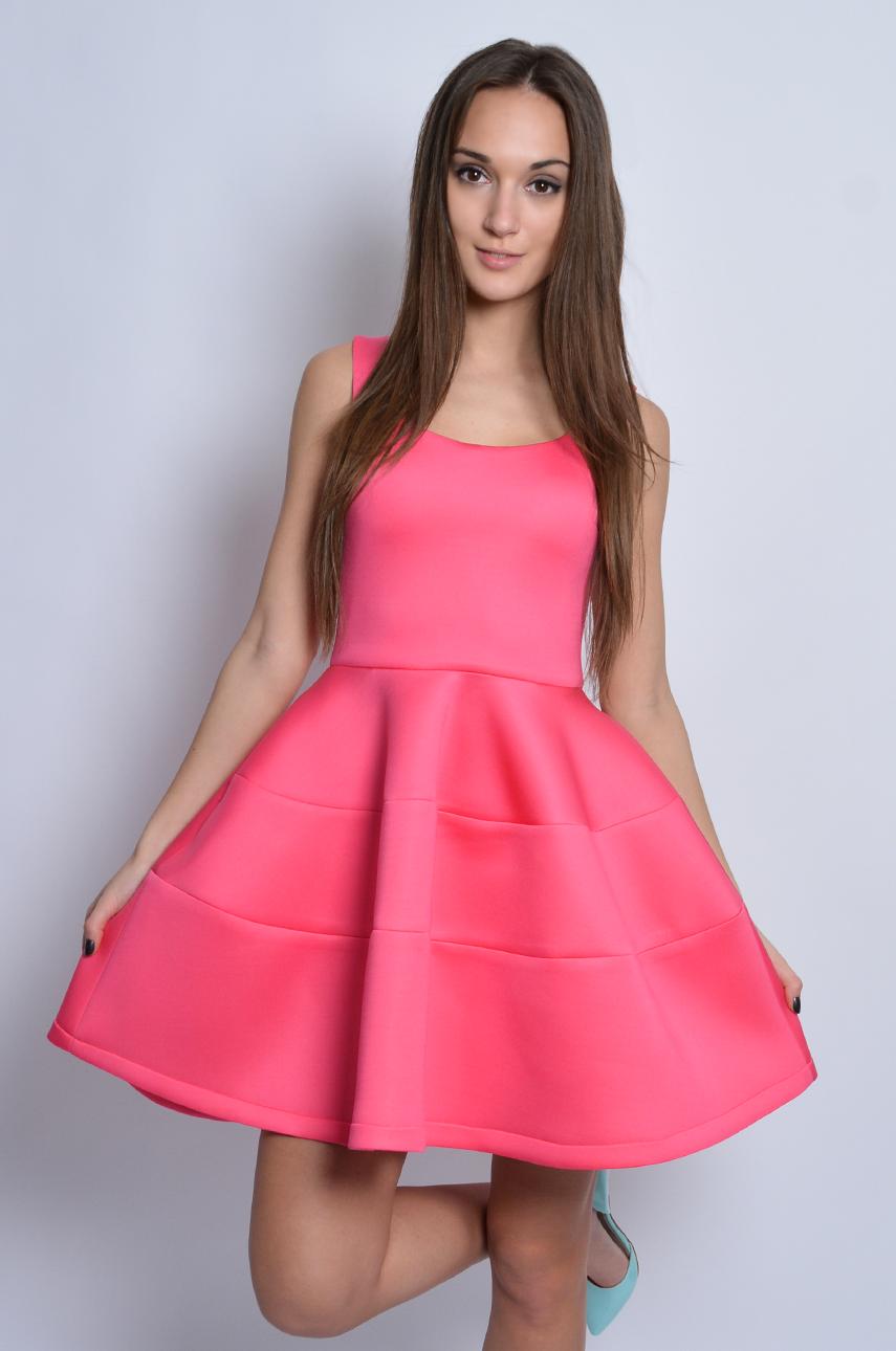 Sukienka piankowa z koła z przeszyciami różowa Rozmiar: S