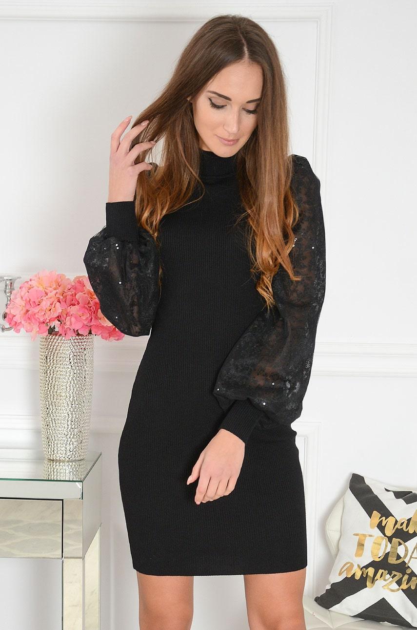 Sukienka prążkowana tiulowe haftowane rękawy czarna Marita Rozmiar: UNI