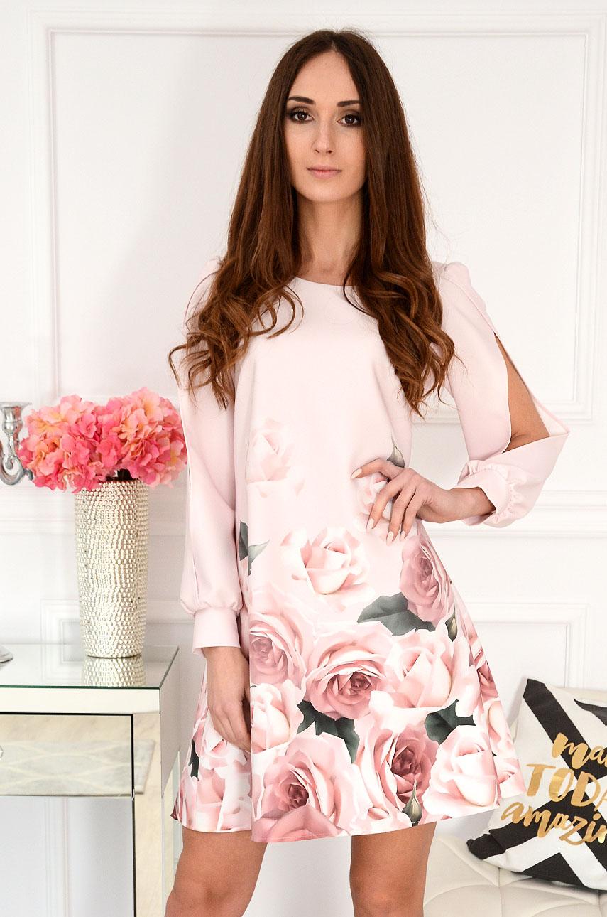 Sukienka rozcięte rękawy w różowe róże pudrowy róż Monic Rozmiar: M