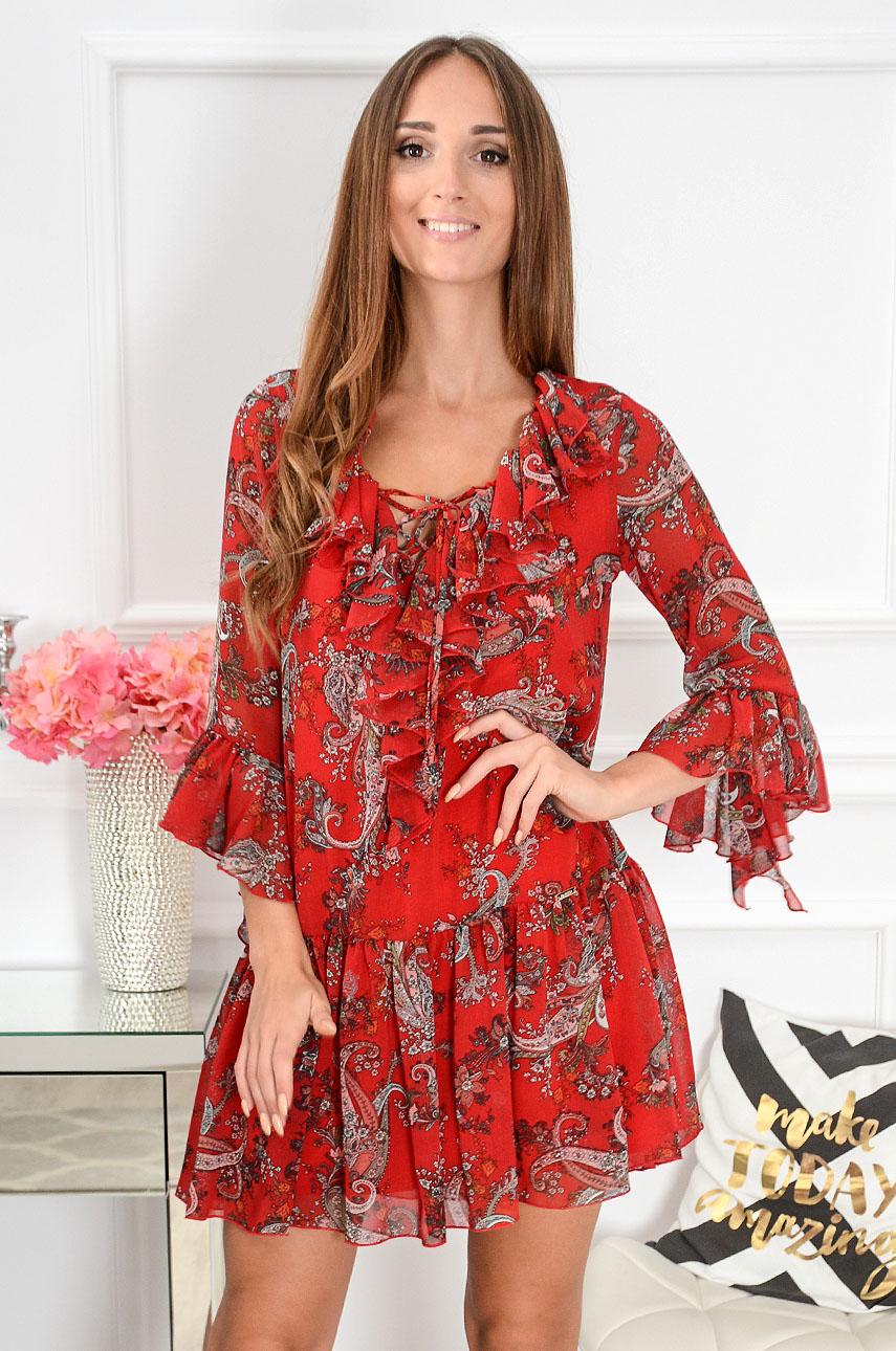 Sukienka szyfonowa Florida w etno wzory czerwona Rozmiar: S