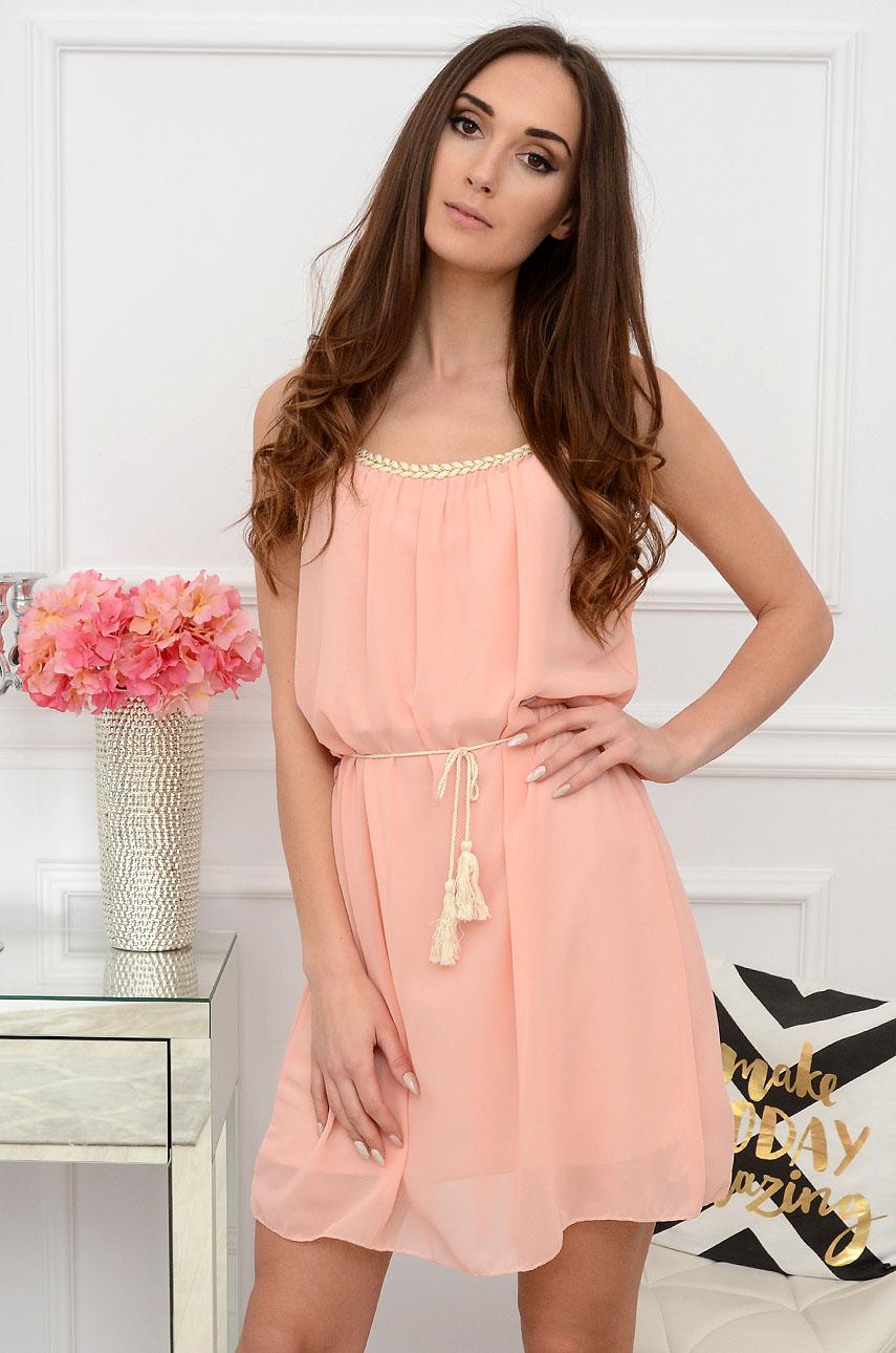Sukienka szyfonowa boho pleciony dekolt pudrowy róż Ciri Rozmiar: UNI