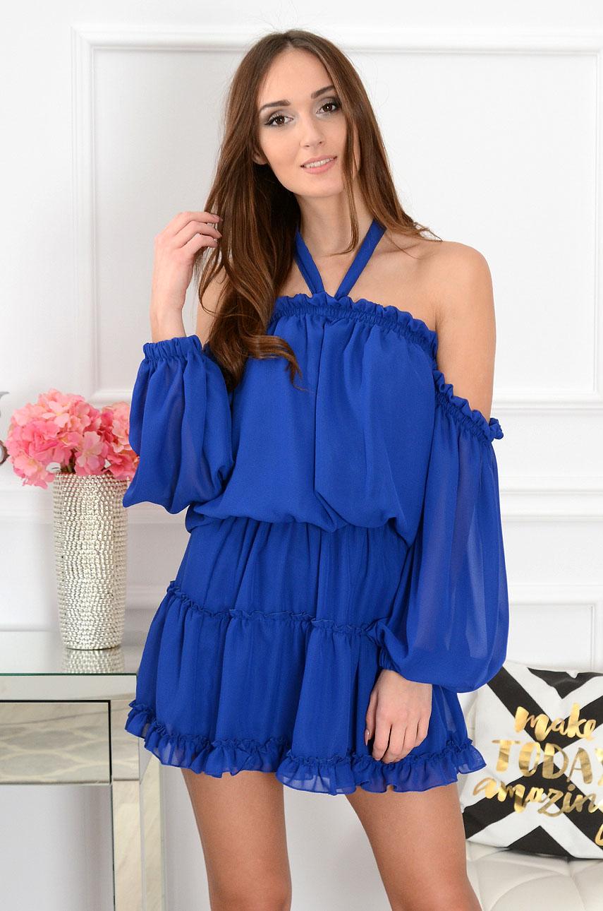 Sukienka szyfonowa kobalt Nicole Rozmiar: UNI