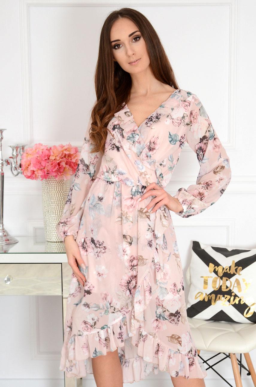 Sukienka szyfonowa kopertowa w kwiaty pudrowa Marine Rozmiar: S