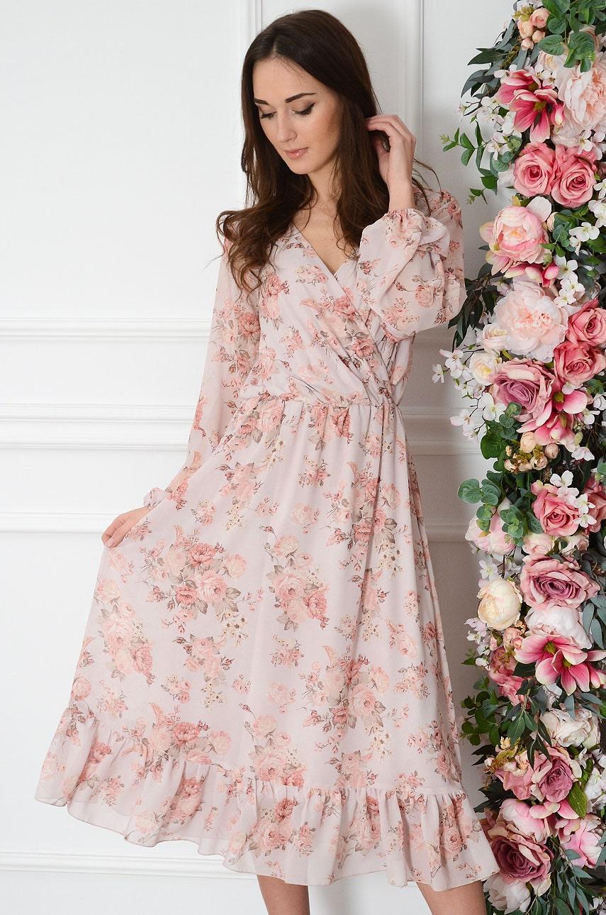Sukienka szyfonowa midi w drobne kwiaty pudrowy róż Agnese Rozmiar: L