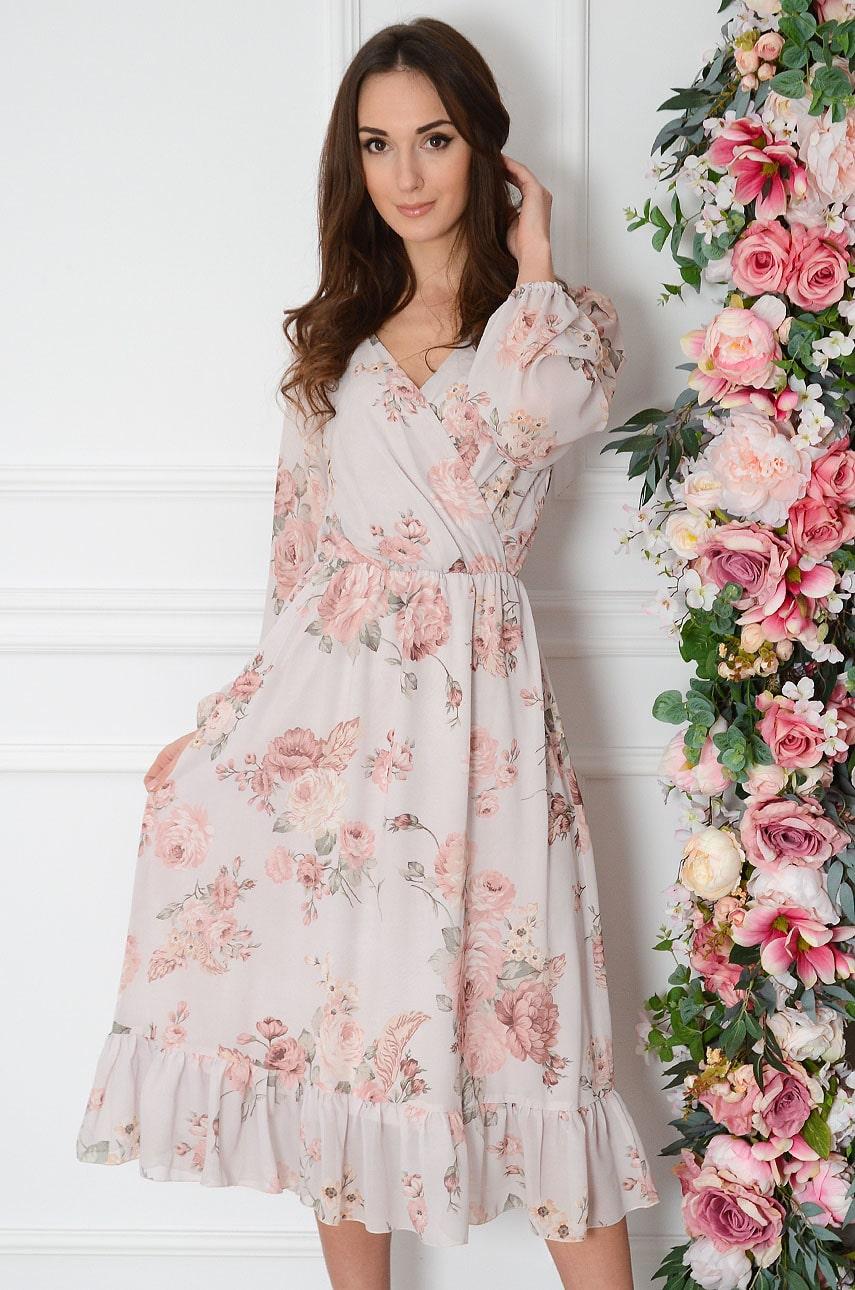 Sukienka szyfonowa midi w duże kwiaty pudrowy róż Agnese Rozmiar: S