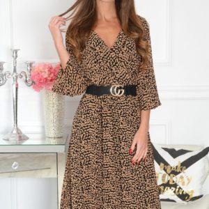 Sukienka szyfonowa midi w kamelową panterkę czarna Agnese Rozmiar: S