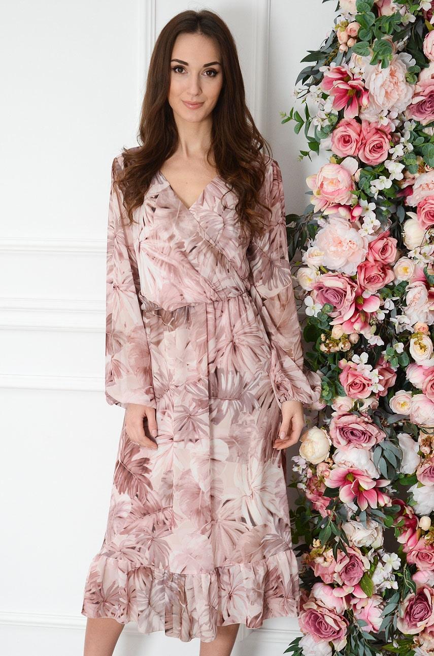 Sukienka szyfonowa midi w tropikalne liście brudny róż Agnese Rozmiar: XL