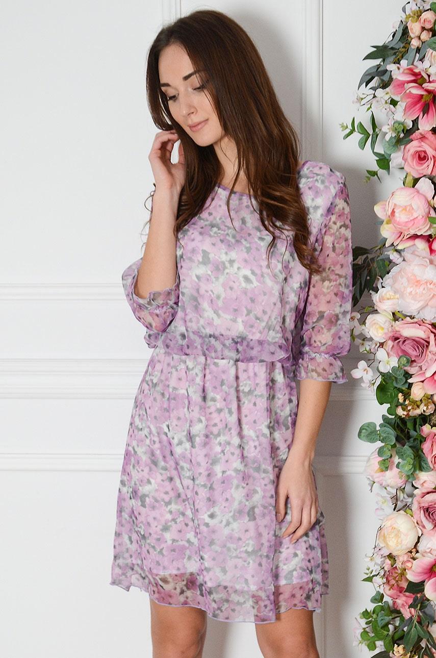 Sukienka szyfonowa w kwiaty liliowa Viola Rozmiar: M