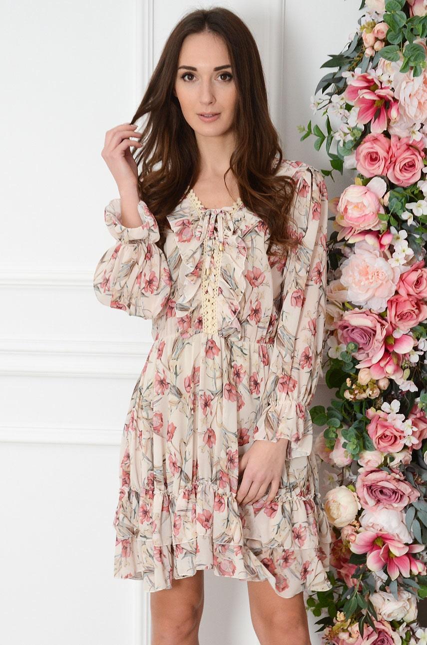 Sukienka szyfonowa z falbaną i gipiurą w kwiaty beż Harley Rozmiar: UNI