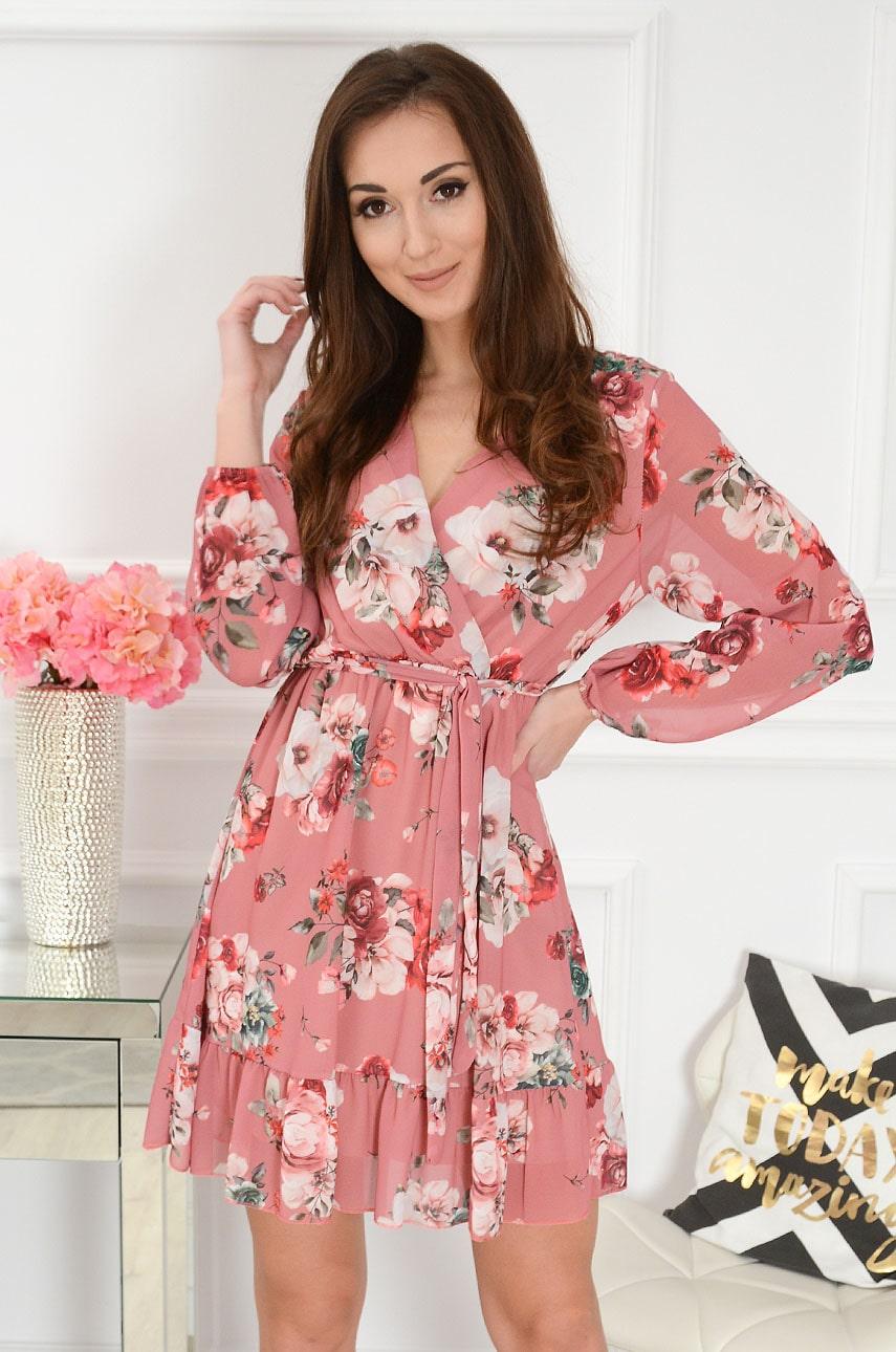 Sukienka szyfonowa z falbaną w kwiaty retro róż Jasmin Rozmiar: UNI