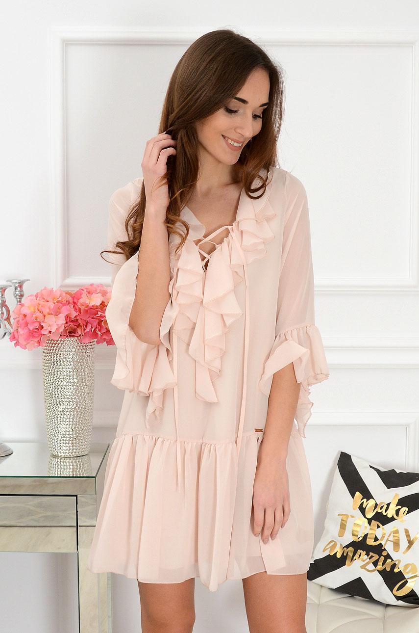 Sukienka szyfonowa z falbanami pudrowa Florida Rozmiar: S