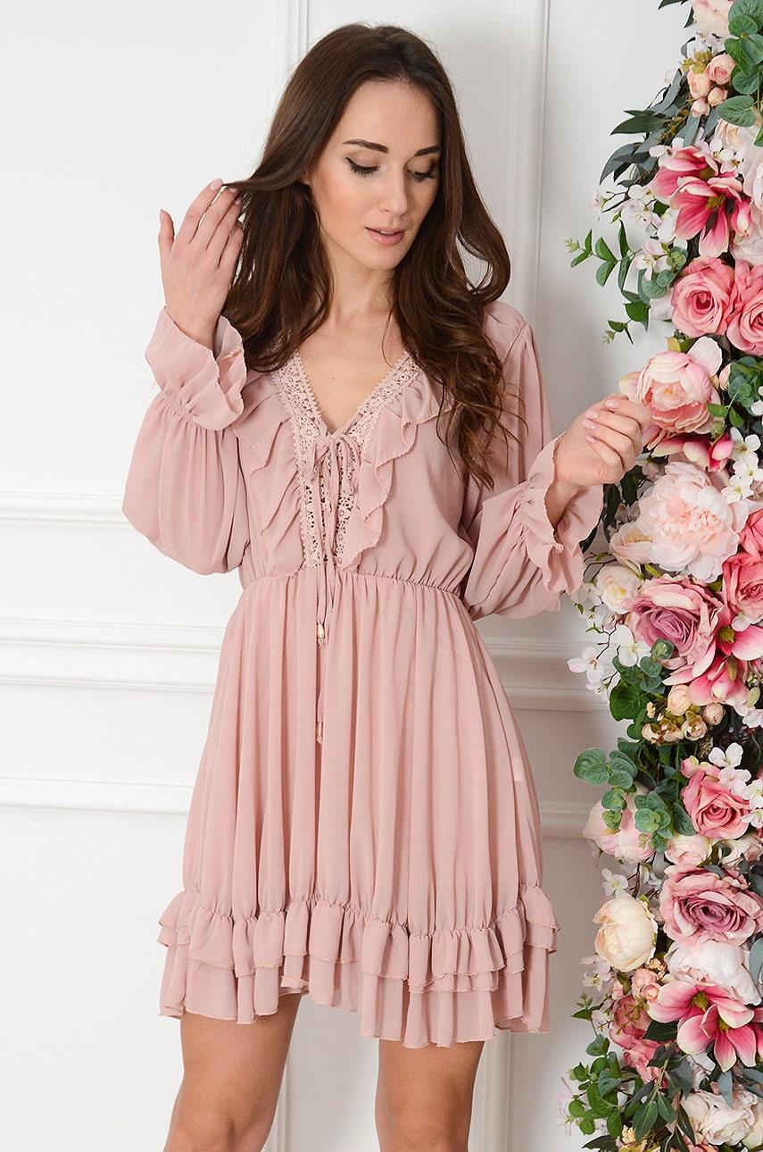 Sukienka szyfonowa z falbanką i gipiurą brudny róż Rosa Rozmiar: UNI