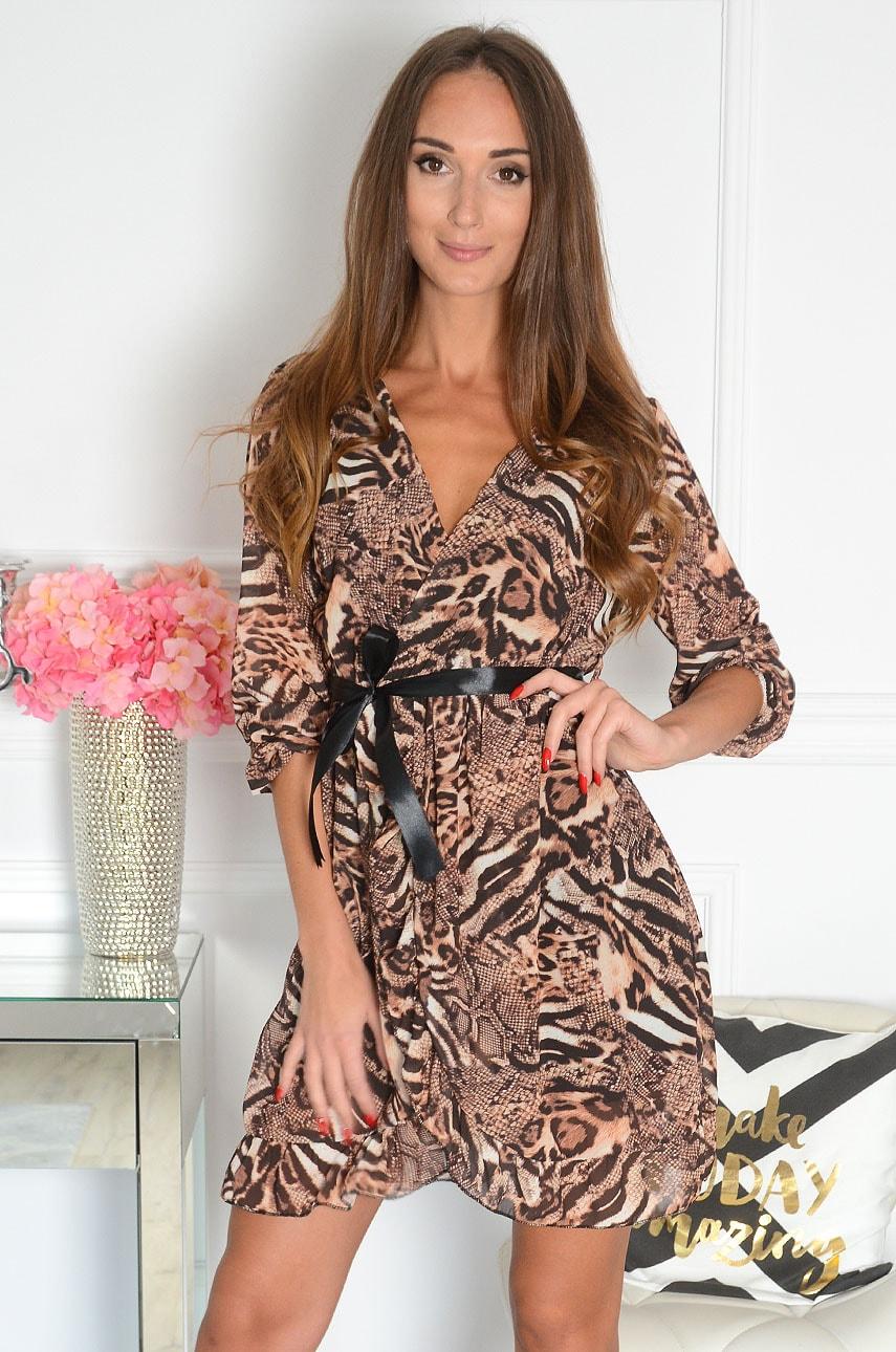 Sukienka szyfonowa z wiązaniem animal print kamel Belur Rozmiar: UNI