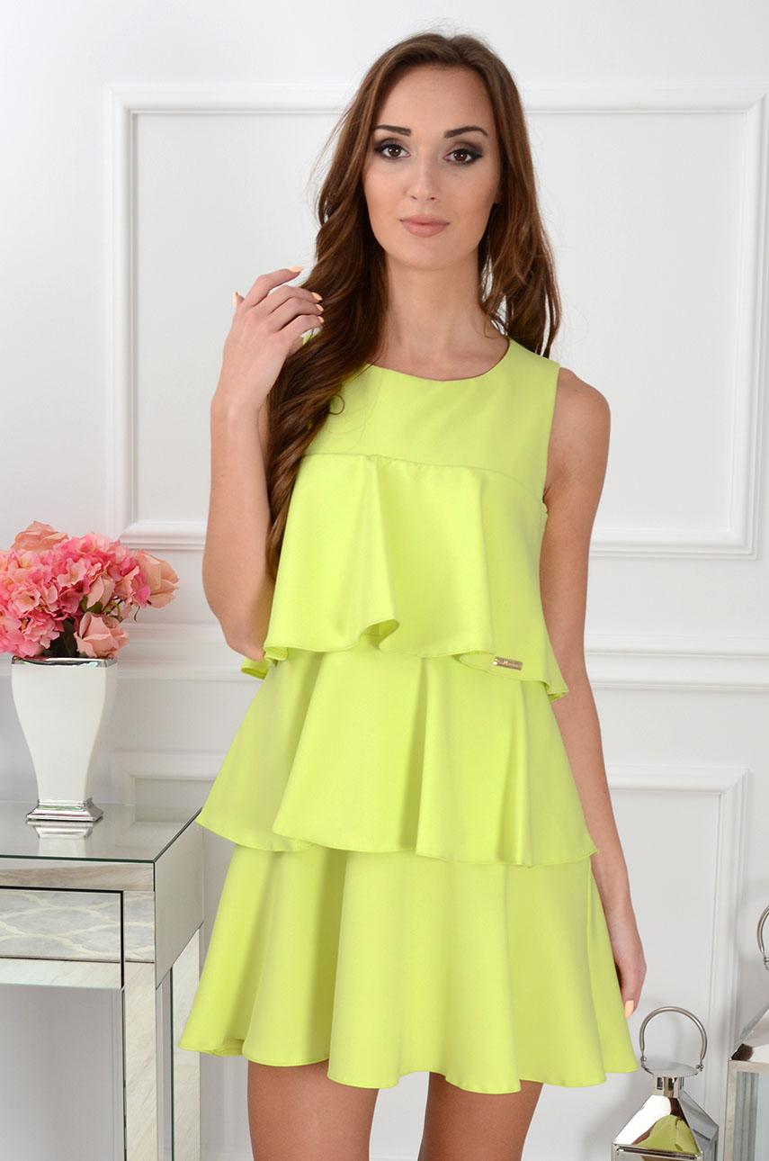 Sukienka trzy falbany limonka Rozmiar: S