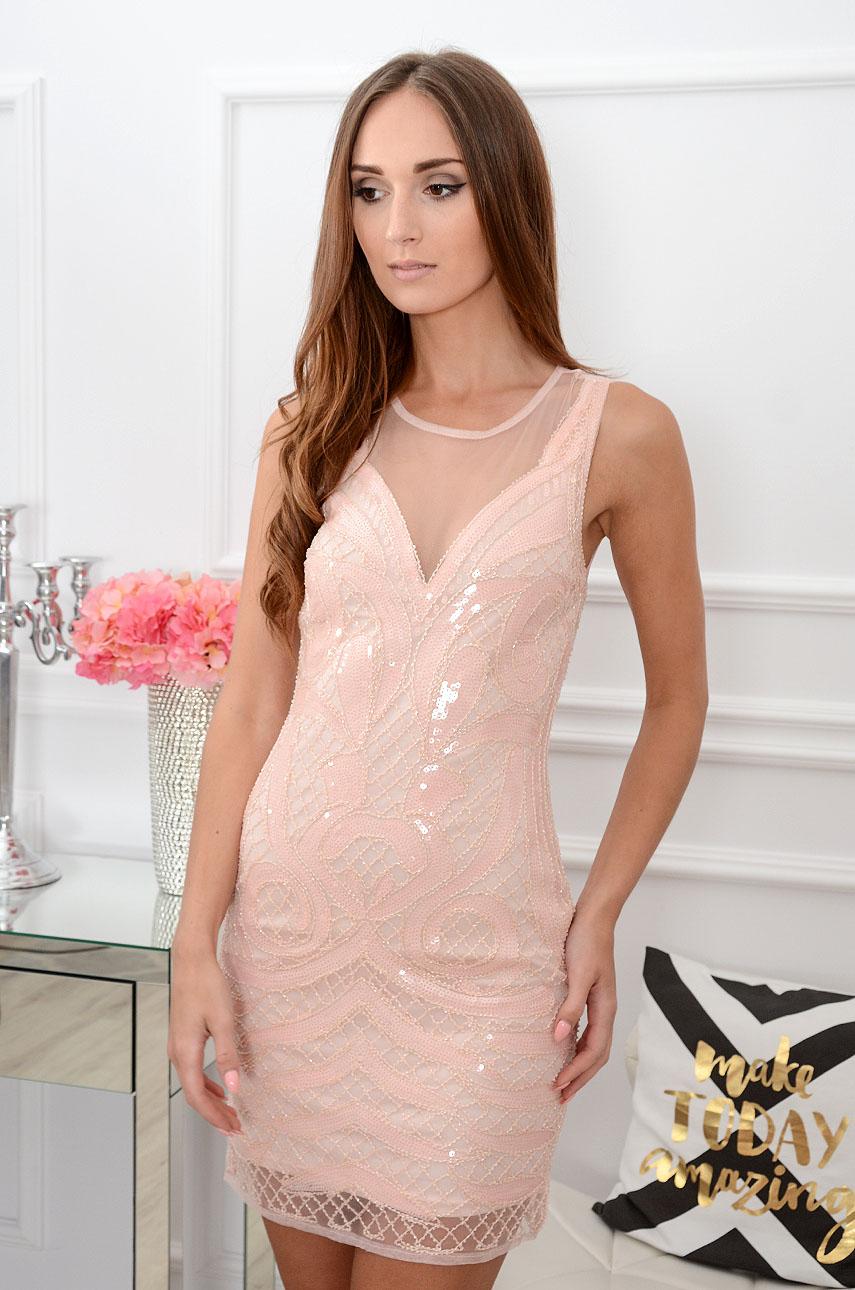 Sukienka tuba cekinowa pudrowy róż Cassino Rozmiar: S