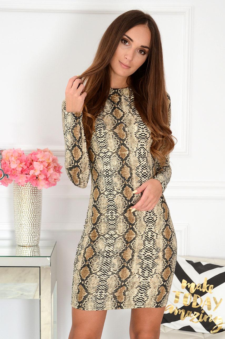 Sukienka tuba wężowa kamel Suge Rozmiar: S